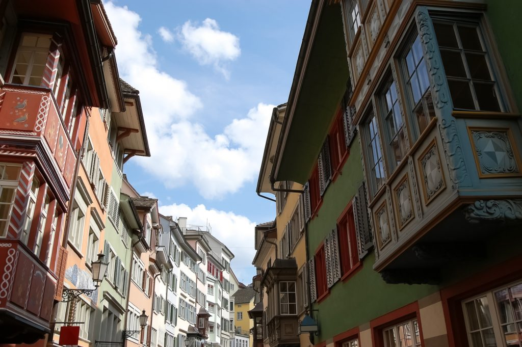 Street view with old houses in the Swiss city.